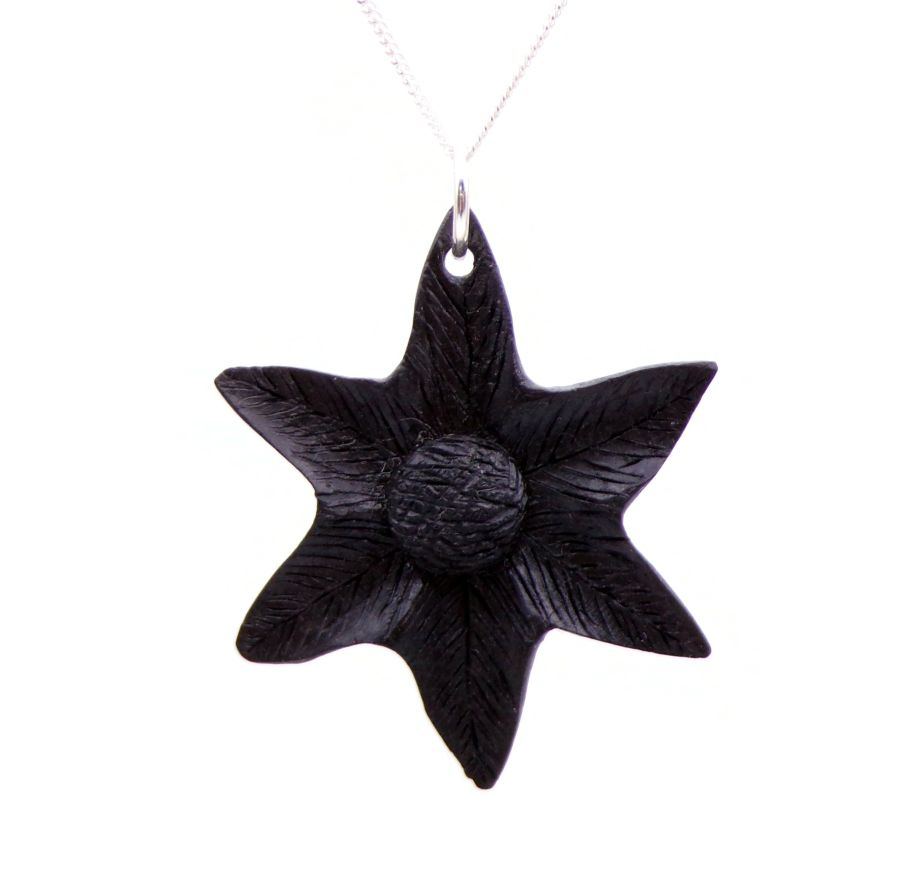 Flower design Pendant Necklace handcrafted in 5000 year old Irish Bog Oak