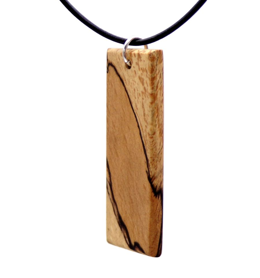 Wooden Pendant Necklace Handcrafted in Spalted Beech wood Ingot