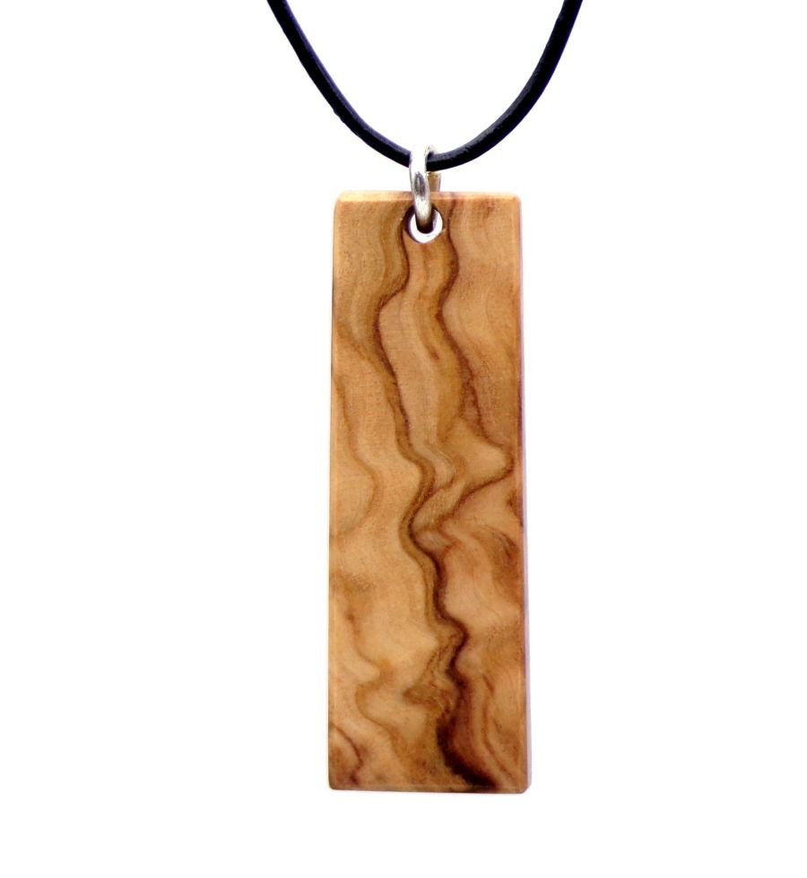 Rectangular design Pendant Necklace handcrafted from Spanish Olive Wood