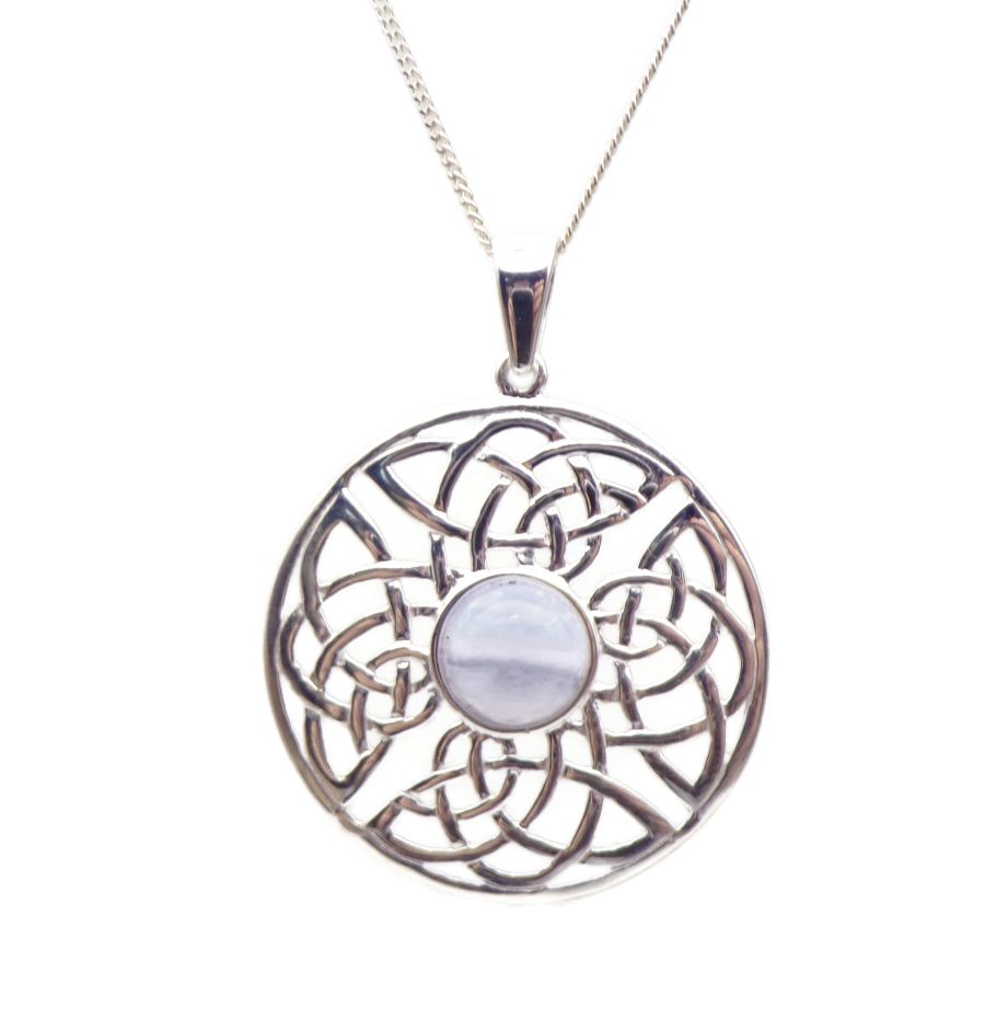 Celtic Blue Lace Agate Sterling Silver Necklace Gemstone Pendant