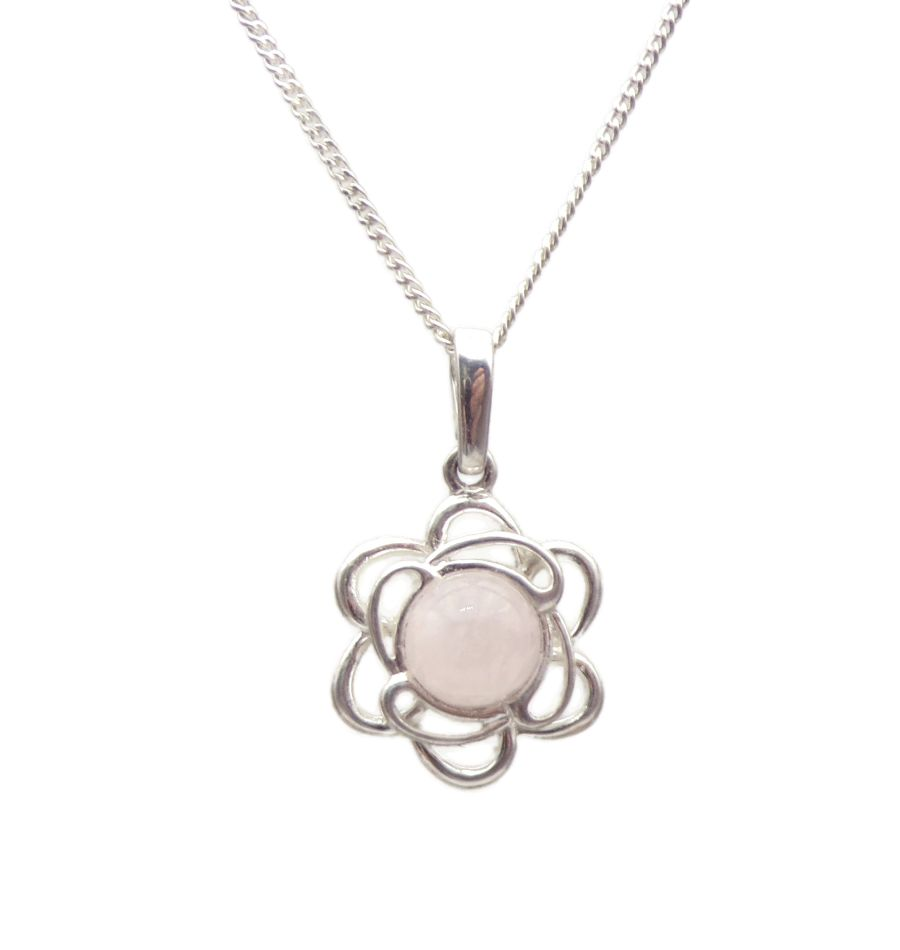 Rose Quartz Sterling Silver Pendant Necklace Flower edge design