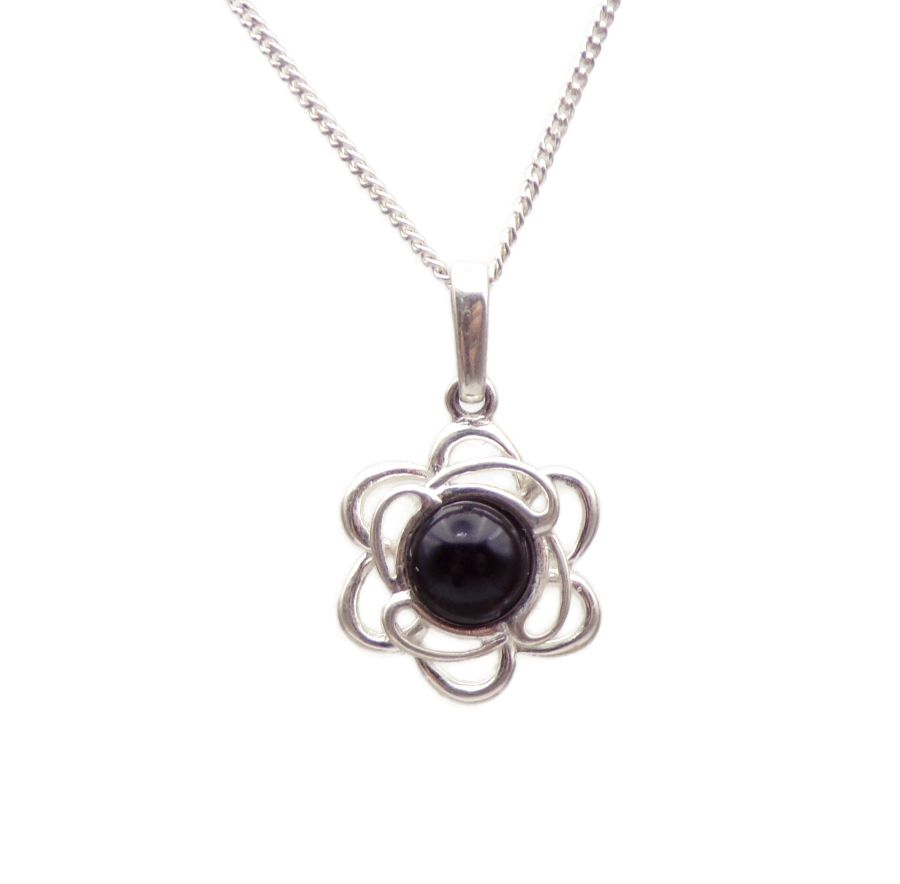 Black Onyx Sterling Silver Pendant Necklace Flower edge
