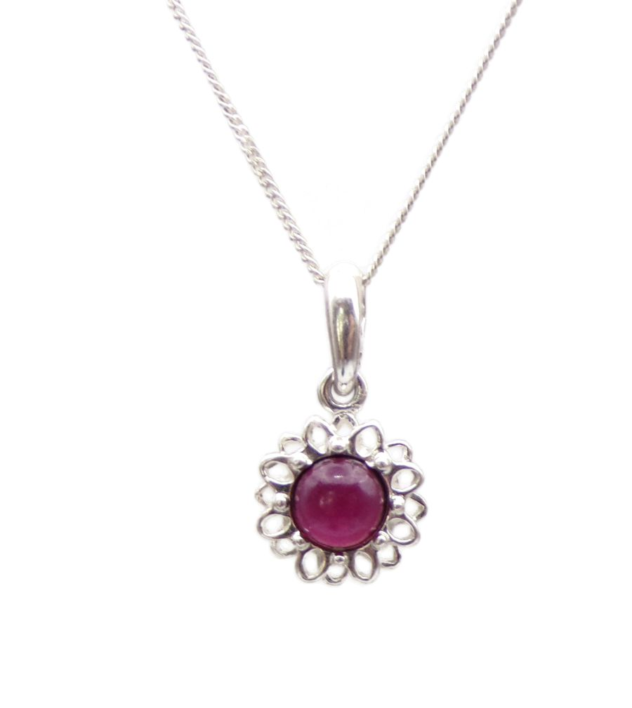 Garnet Silver Pendant Necklace Flower petal design
