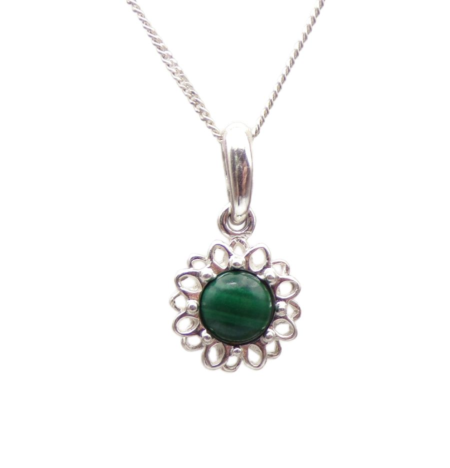 Malachite Silver Pendant Necklace Flower petal design
