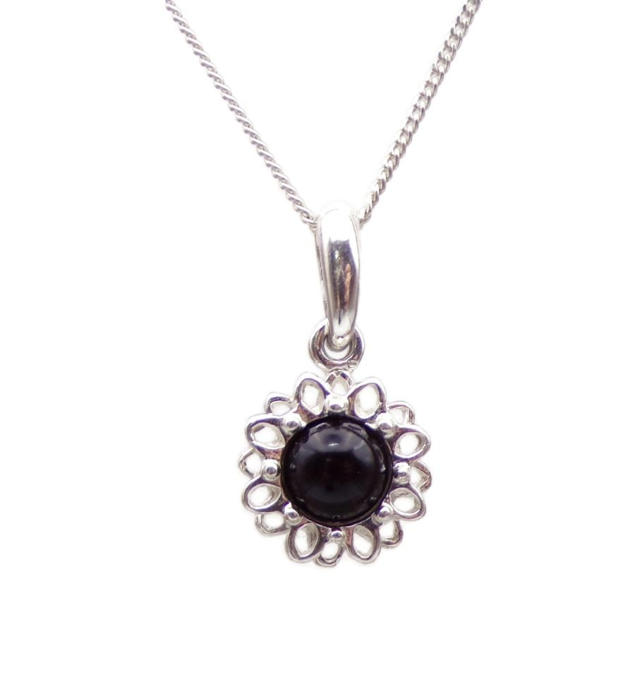 Black Onyx Silver Pendant Necklace Flower petal design