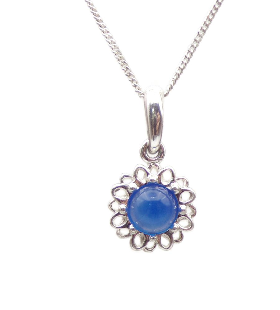 Blue Onyx Silver Pendant Necklace Flower petal design