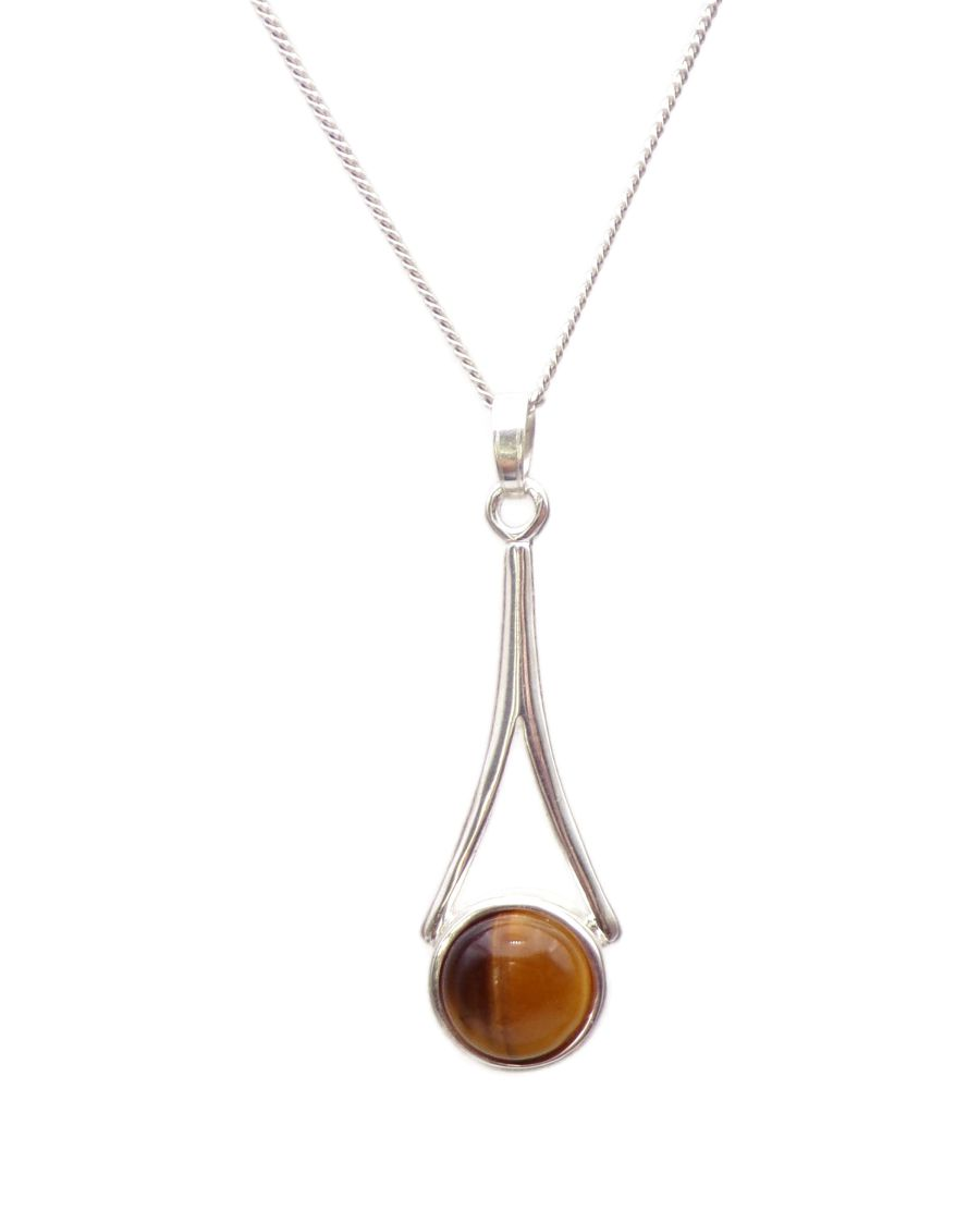 Tigers Eye Elongated Pendant Necklace in Sterling silver