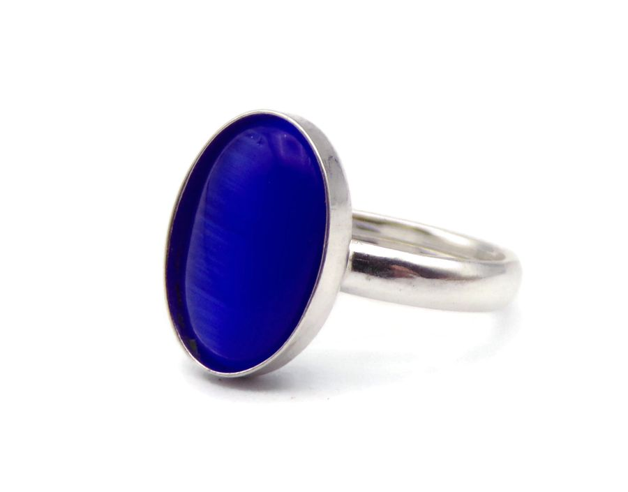 Blue Cats Eye Oval Sterling Silver Ring
