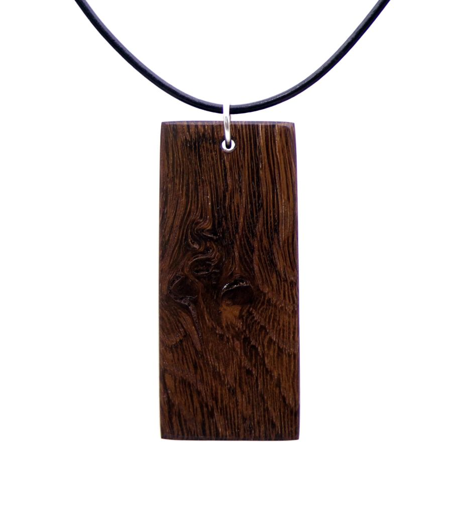 Rectangular Pendant Necklace in 5000 year old Irish Bog Oak Wood