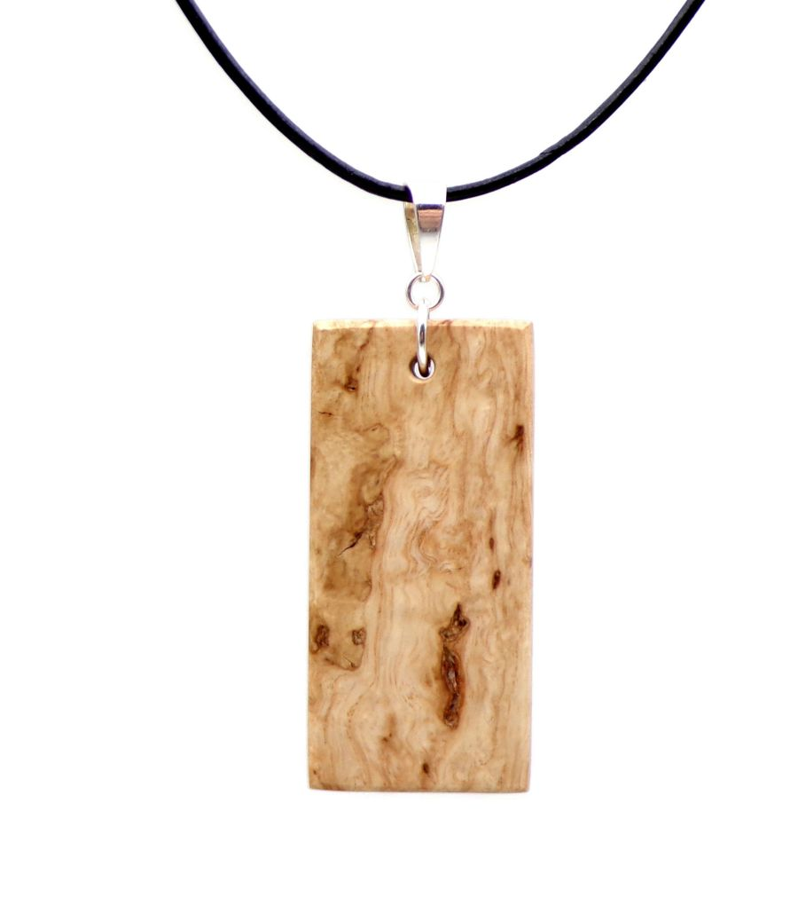 Rectangular Pendant Necklace handcrafted in English Sycamore Wood