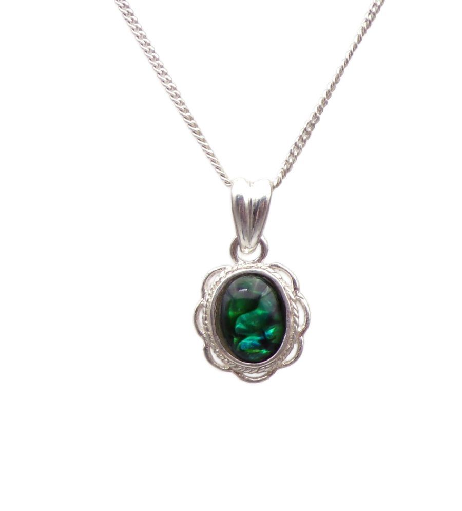 Green Abalone Silver Pendant Necklace Frilled edge Oval design