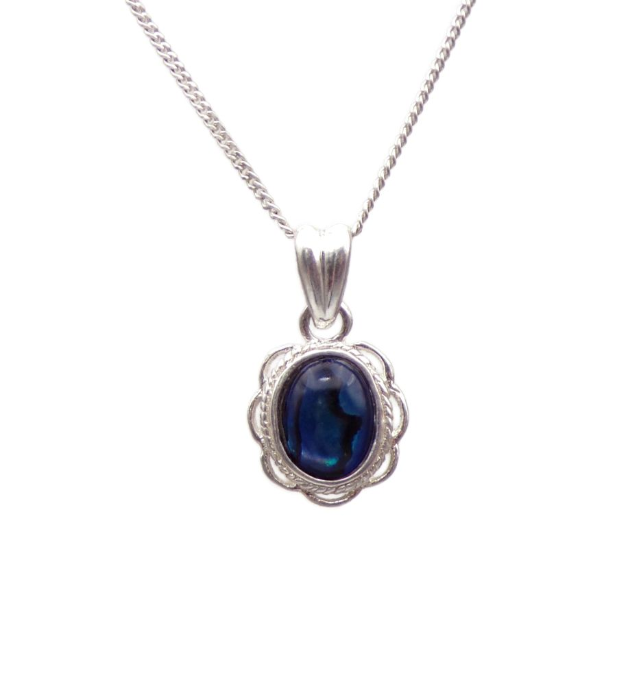 Blue Abalone Silver Pendant Necklace Frilled edge Oval design
