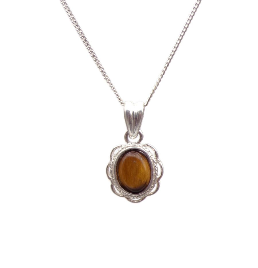 Tigers Eye gemstone Silver Pendant Necklace Frilled edge Oval design
