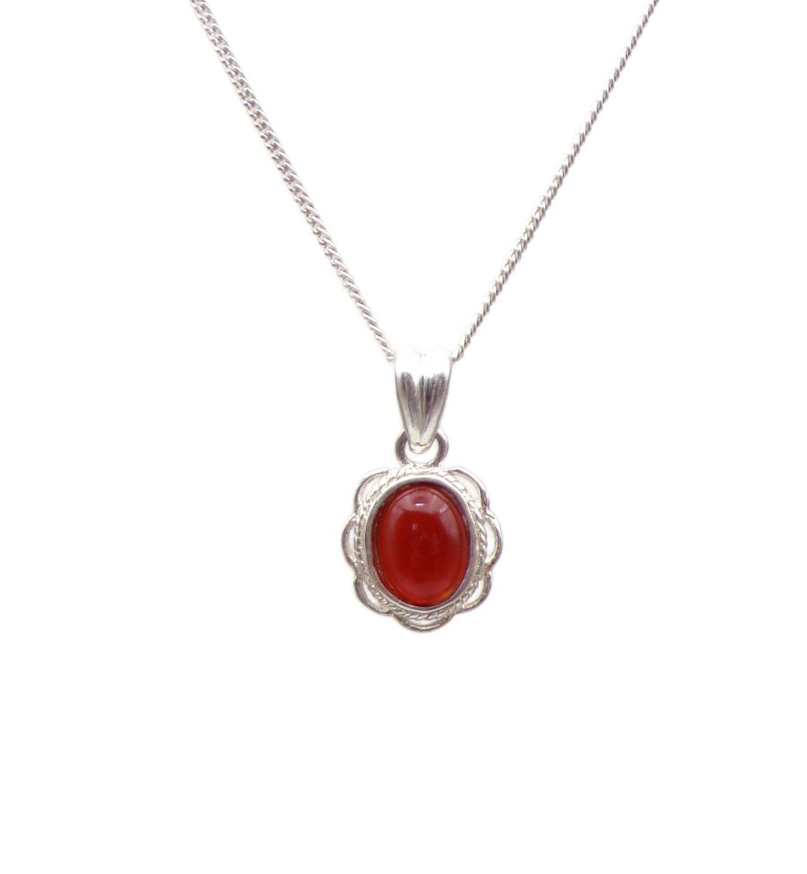 Carnelian gemstone Silver Pendant Necklace Frilled edge Oval design
