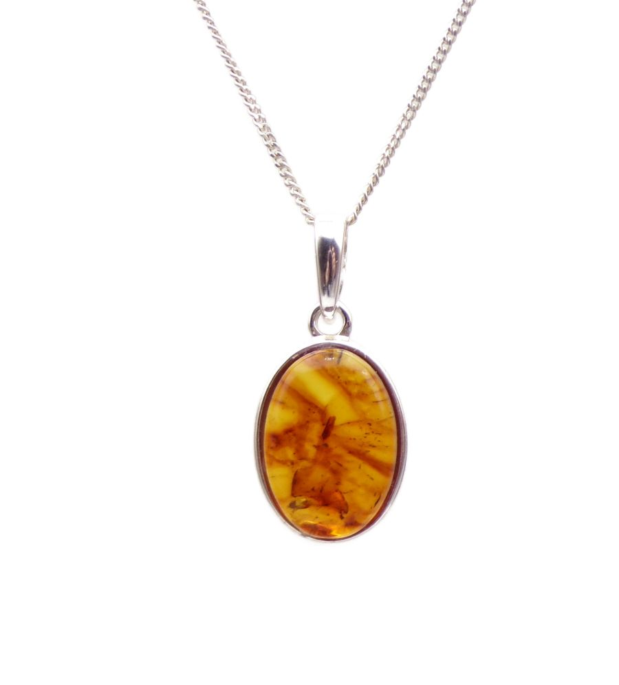 Amber Silver Pendant Necklace Oval design 14mm
