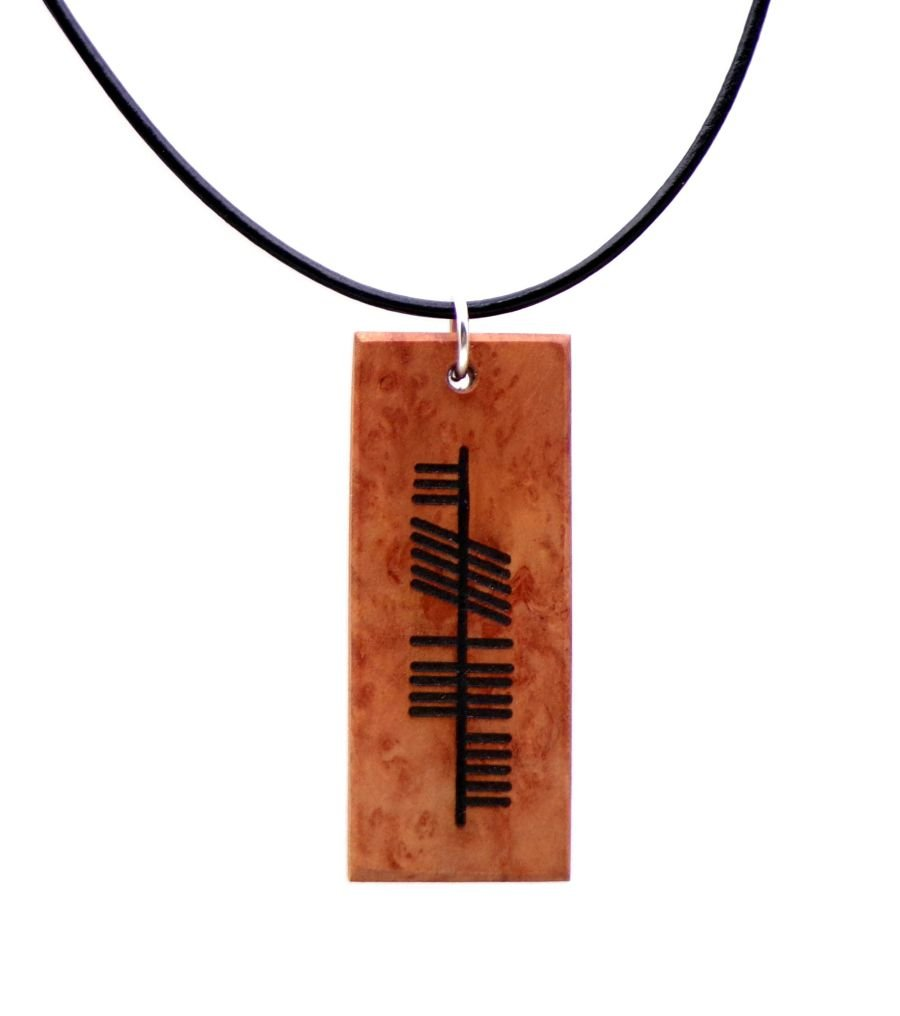 Ogham Neart Strength Necklace in Red River Gum Wood
