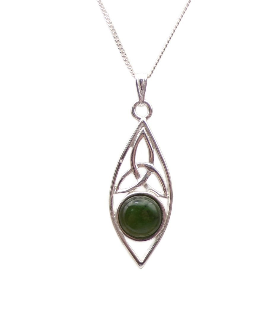 Triquetra Jade Sterling Silver Necklace Gemstone Pendant