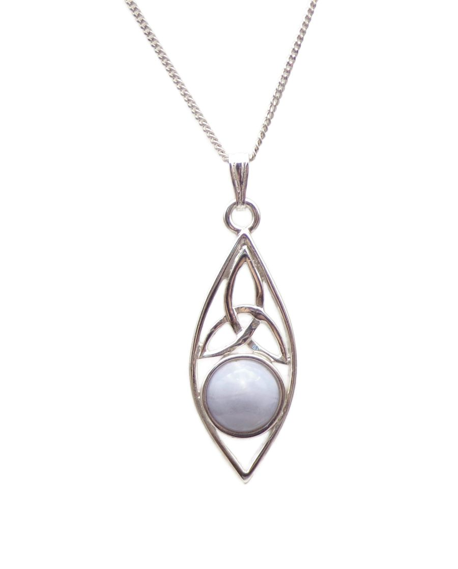 Triquetra Blue Lace Agate Sterling Silver Necklace Gemstone