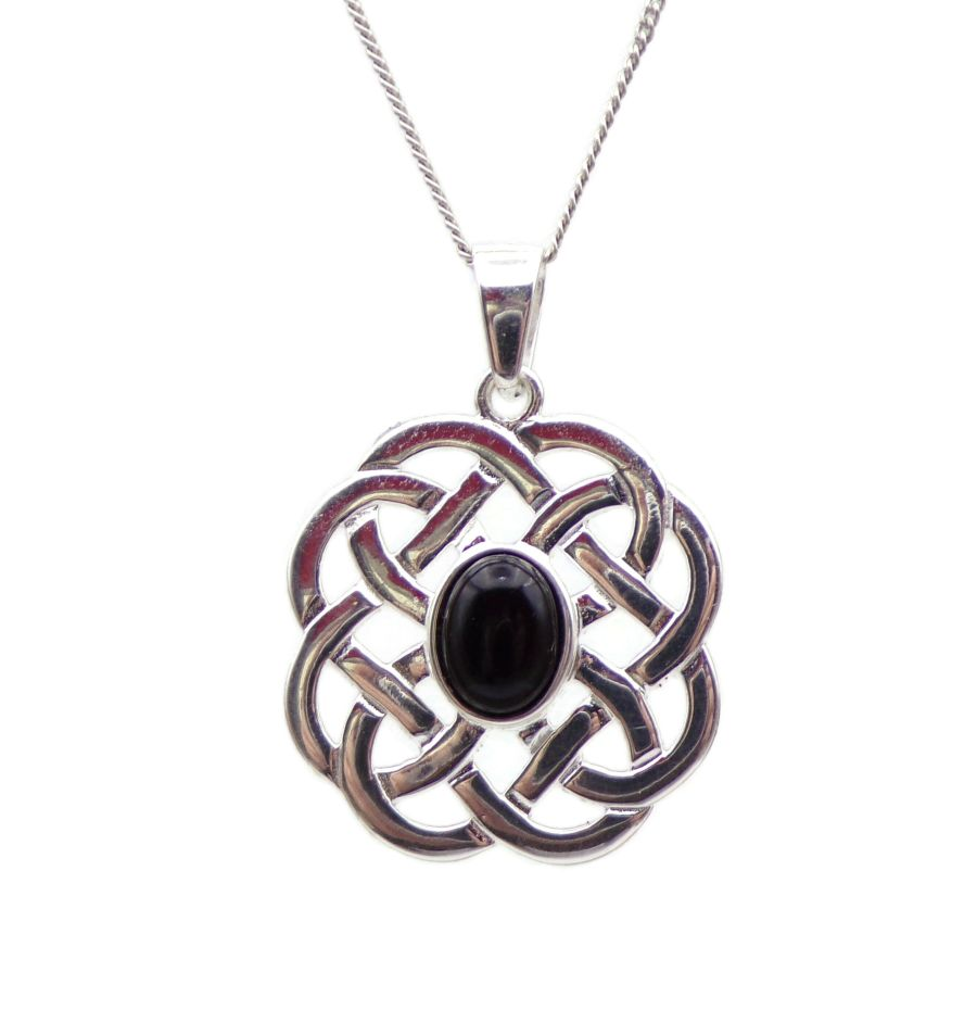 Celtic design Black Onyx Sterling Silver Necklace Gemstone