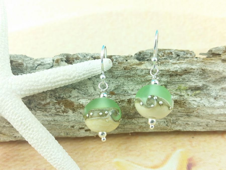 Sea Green Wave Round Earrings