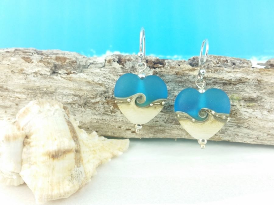 Turquoise Wave Heart Earrings Medium