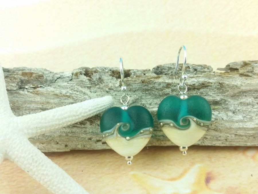 Teal Heart Earrings Medium