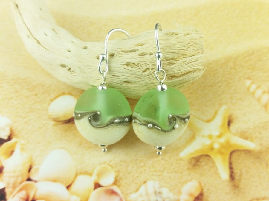 Sea Green Wave Tab Earrings