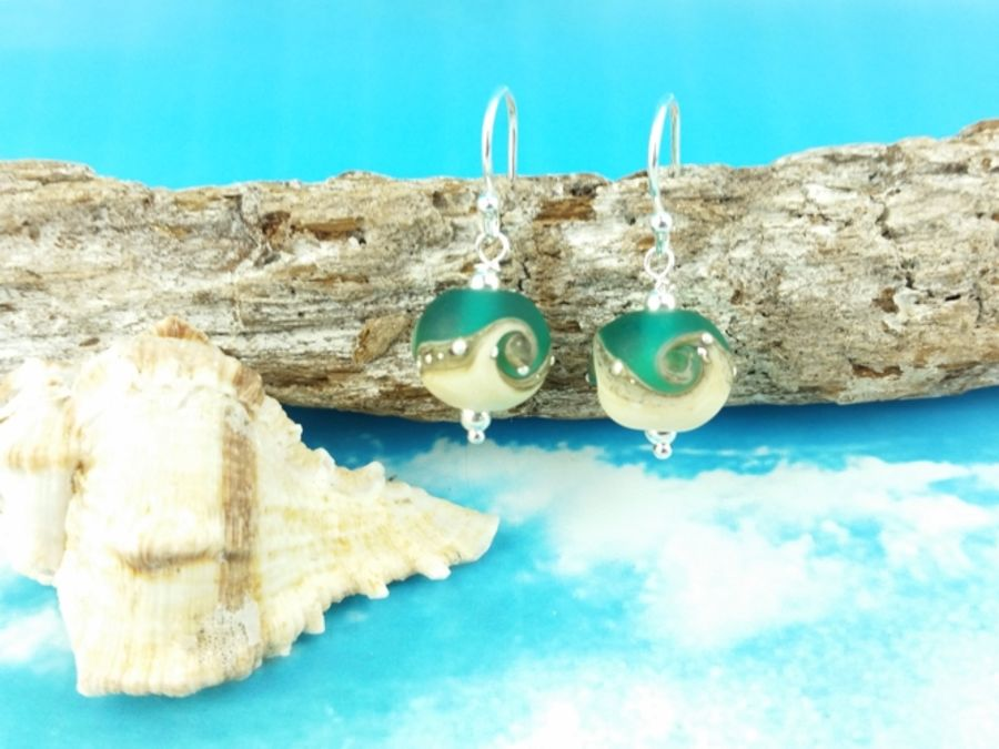 Teal Wave Round Earrings