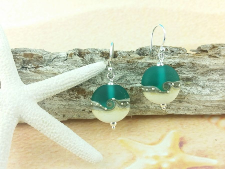 Teal Wave Tab Earrings