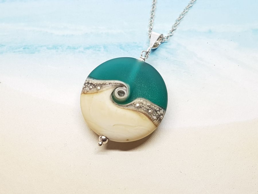 Teal Wave Tab Pendant Medium