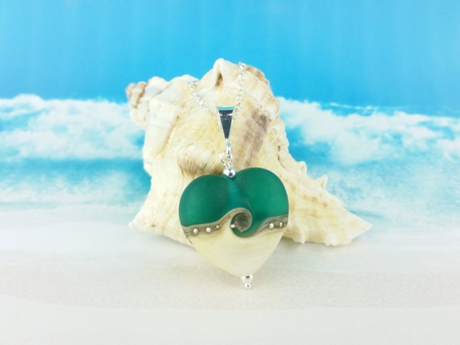 Teal Wave Heart Pendant Medium