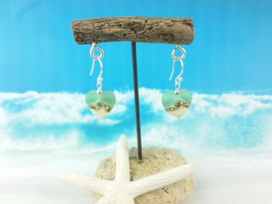 Sea Green Heart Earrings Small
