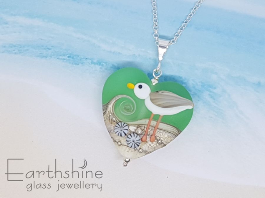 Sea Green Seagull Heart Pendant