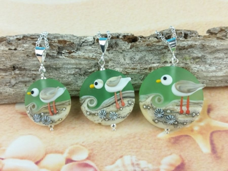 Sea Green Seagull Pendant - 3 sizes available