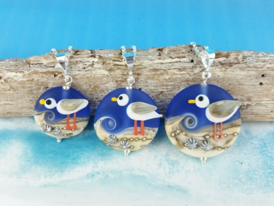 Blue Seagull Pendant - 3 sizes available