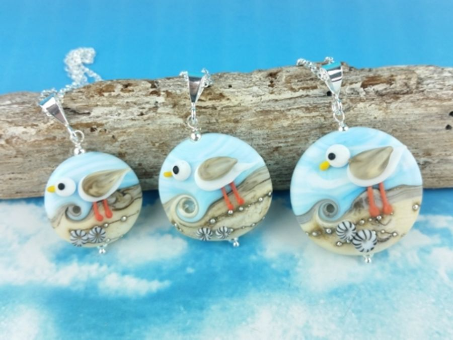 Sky blue Seagull Pendant - 3 sizes available