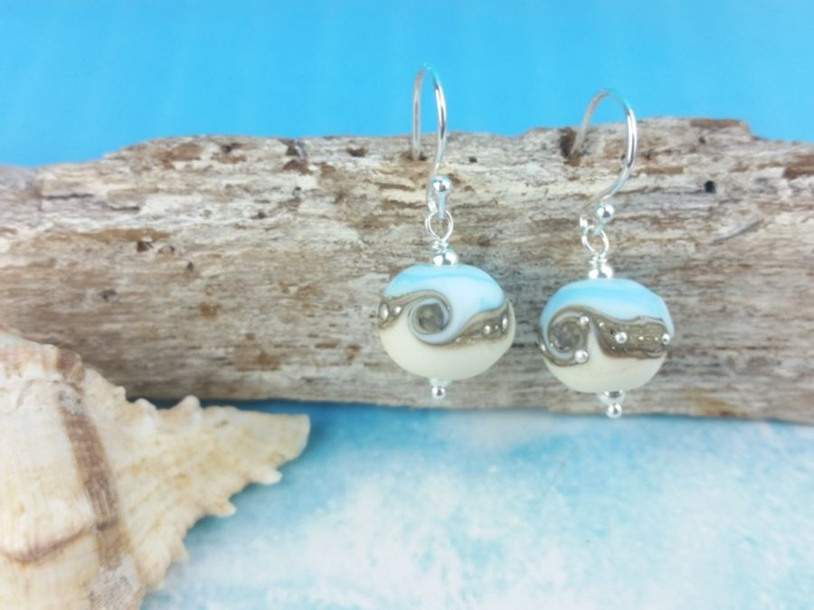 Sky Blue Wave Round Earrings