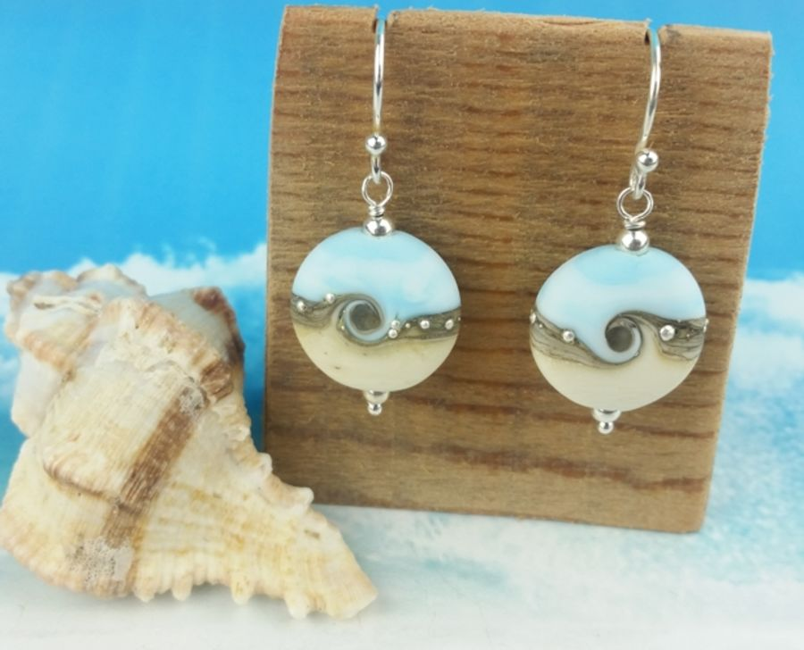 Sky Blue Wave Tab Earrings
