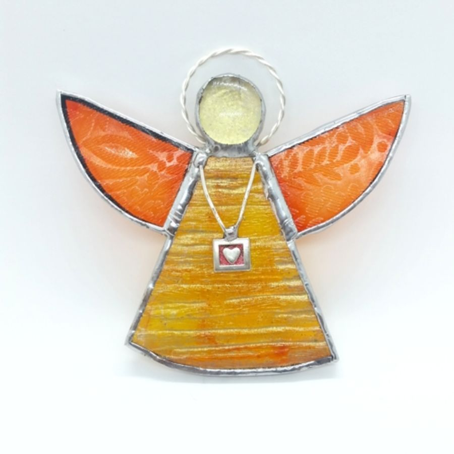 Yellow & Orange Stained glass angel made using recycled glass