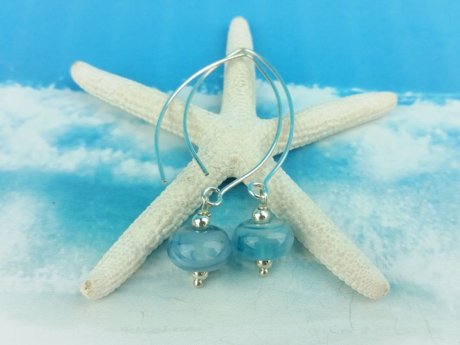 Limited Edition Blue Stormy Seas Glass Earrings