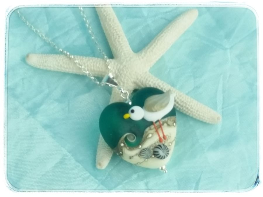 Teal Green Seagull Heart Pendant