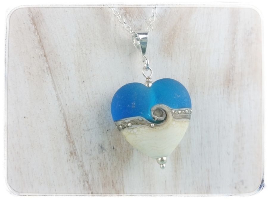 Turquoise Wave Heart Pendant