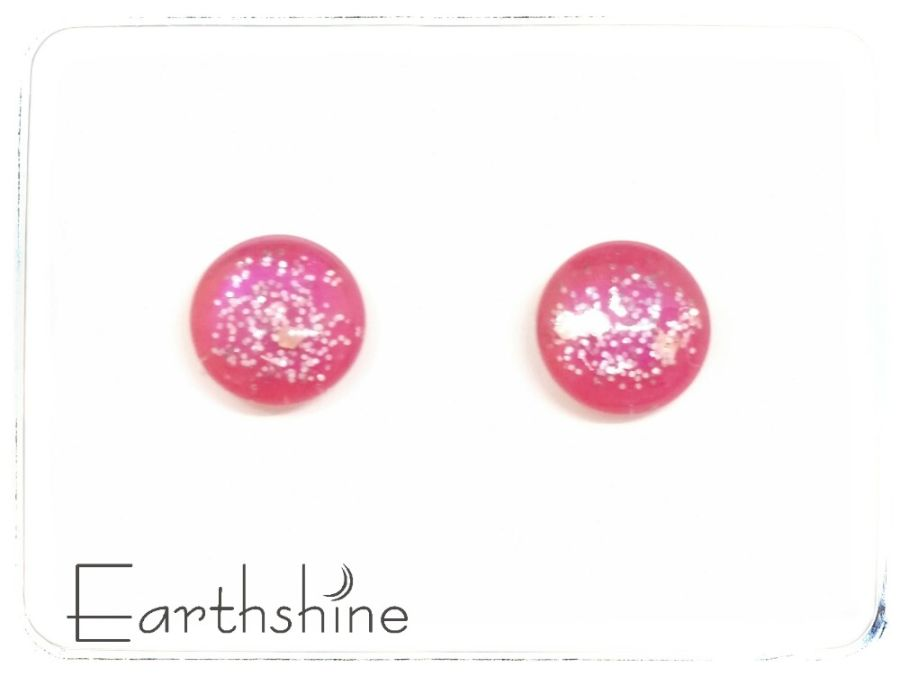 Pink sterling silver glass stud earrings