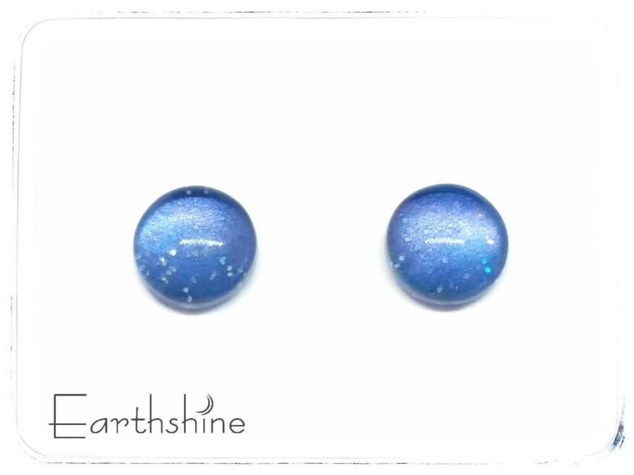 Dark blue sterling silver glass stud earrings