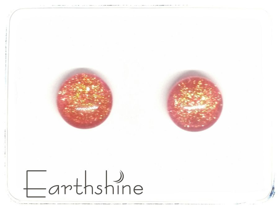 Orange sterling silver glass stud earrings
