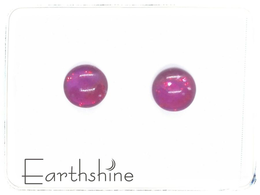 Ruby Red sterling silver glass stud earrings