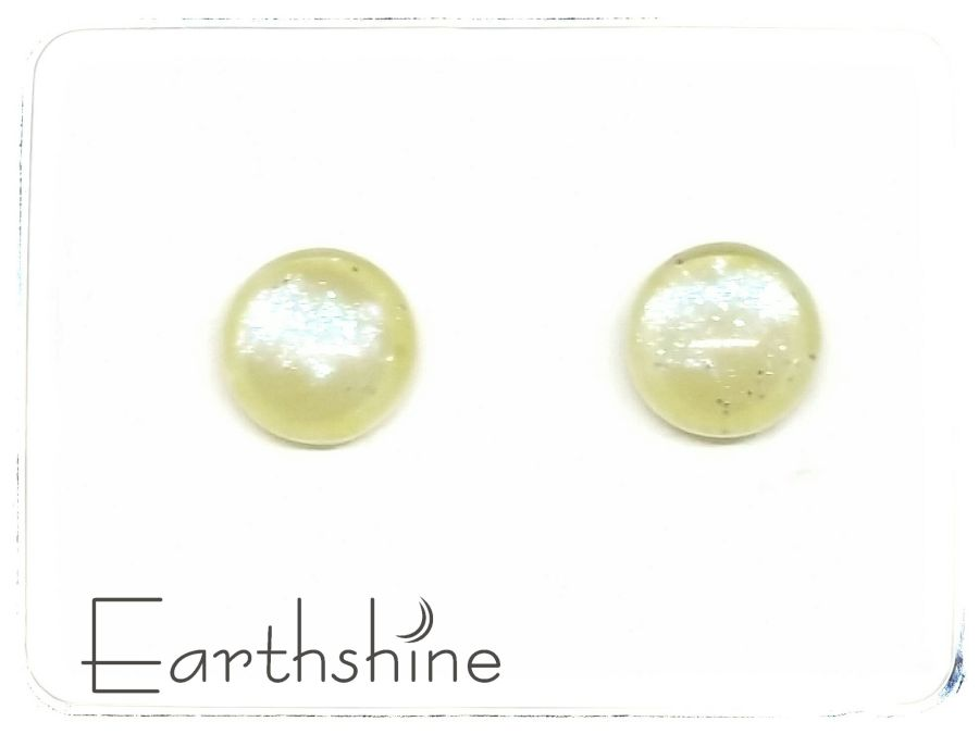 Lemon yellow sterling silver glass stud earrings