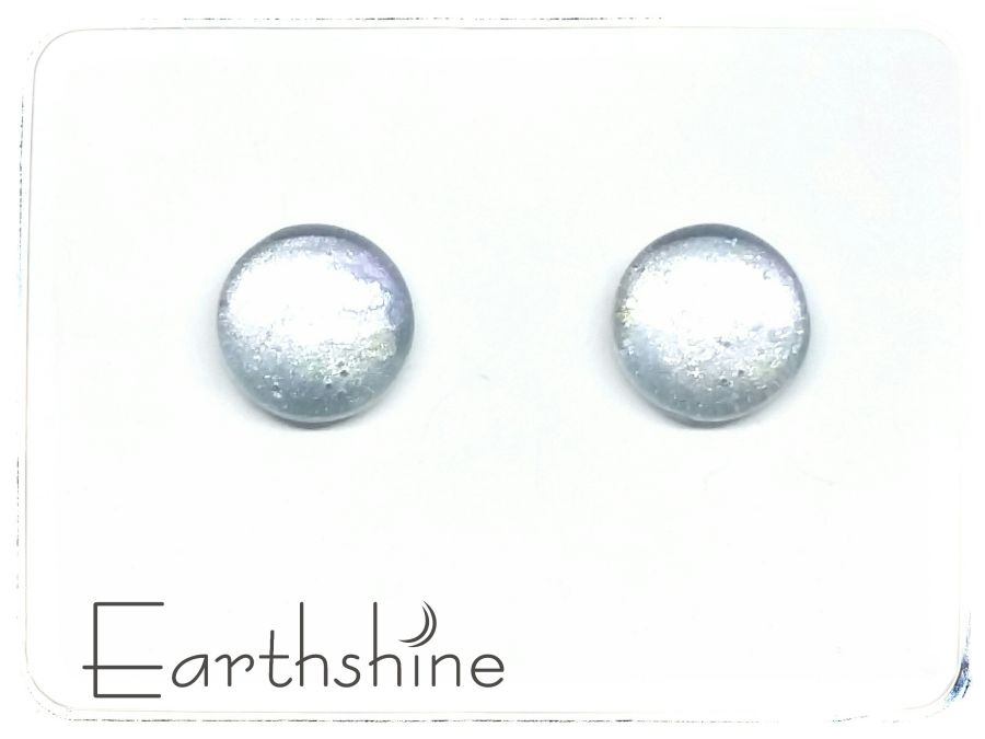 Ice silver sterling silver glass stud earrings