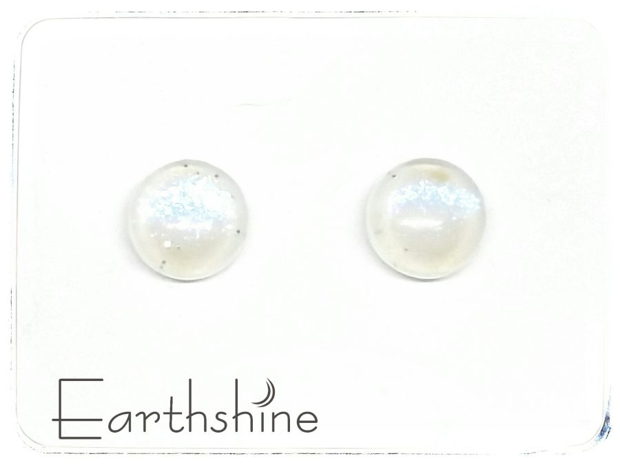 Ice White sterling silver glass stud earrings