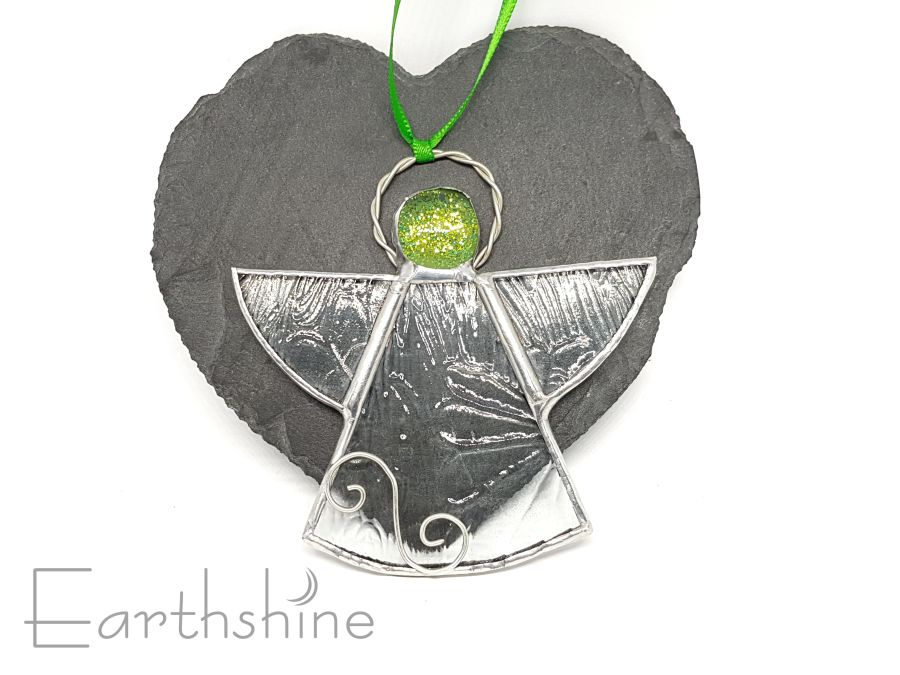 Green Stained Glass Angel Christmas Tree Decoration